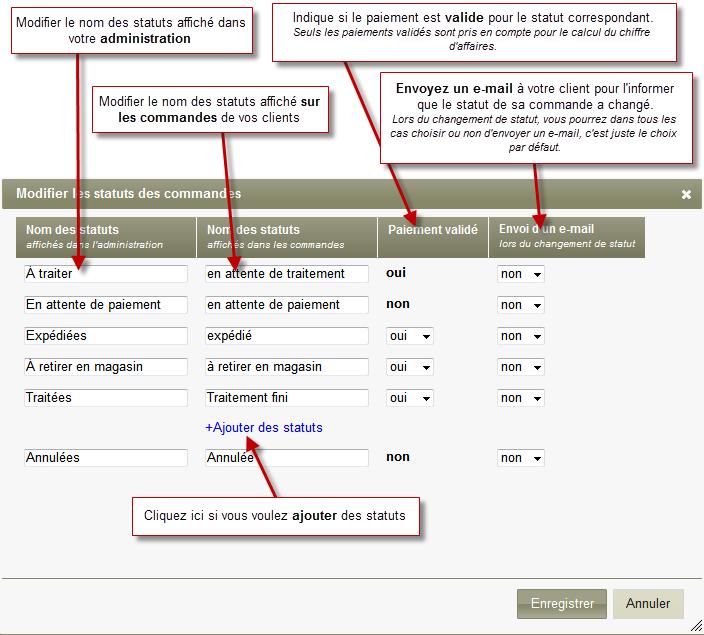 Comment personnaliser les statuts des commandes for Statut de commande ikea